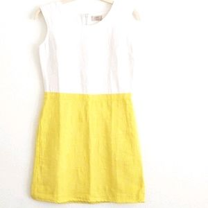Loft Summer Dress White Yellow L